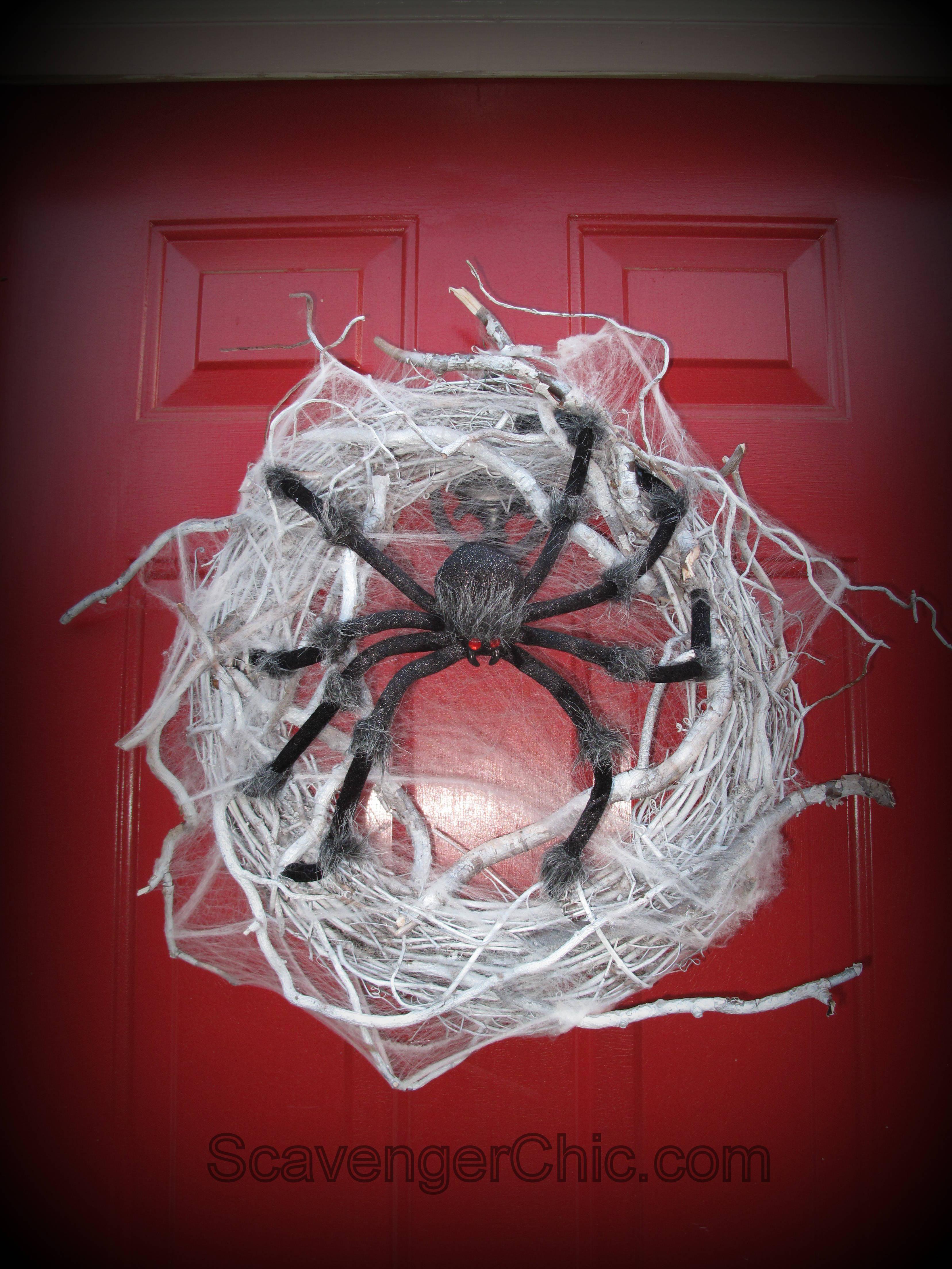 Spider Halloween Wreath Diy Scavenger Chic
