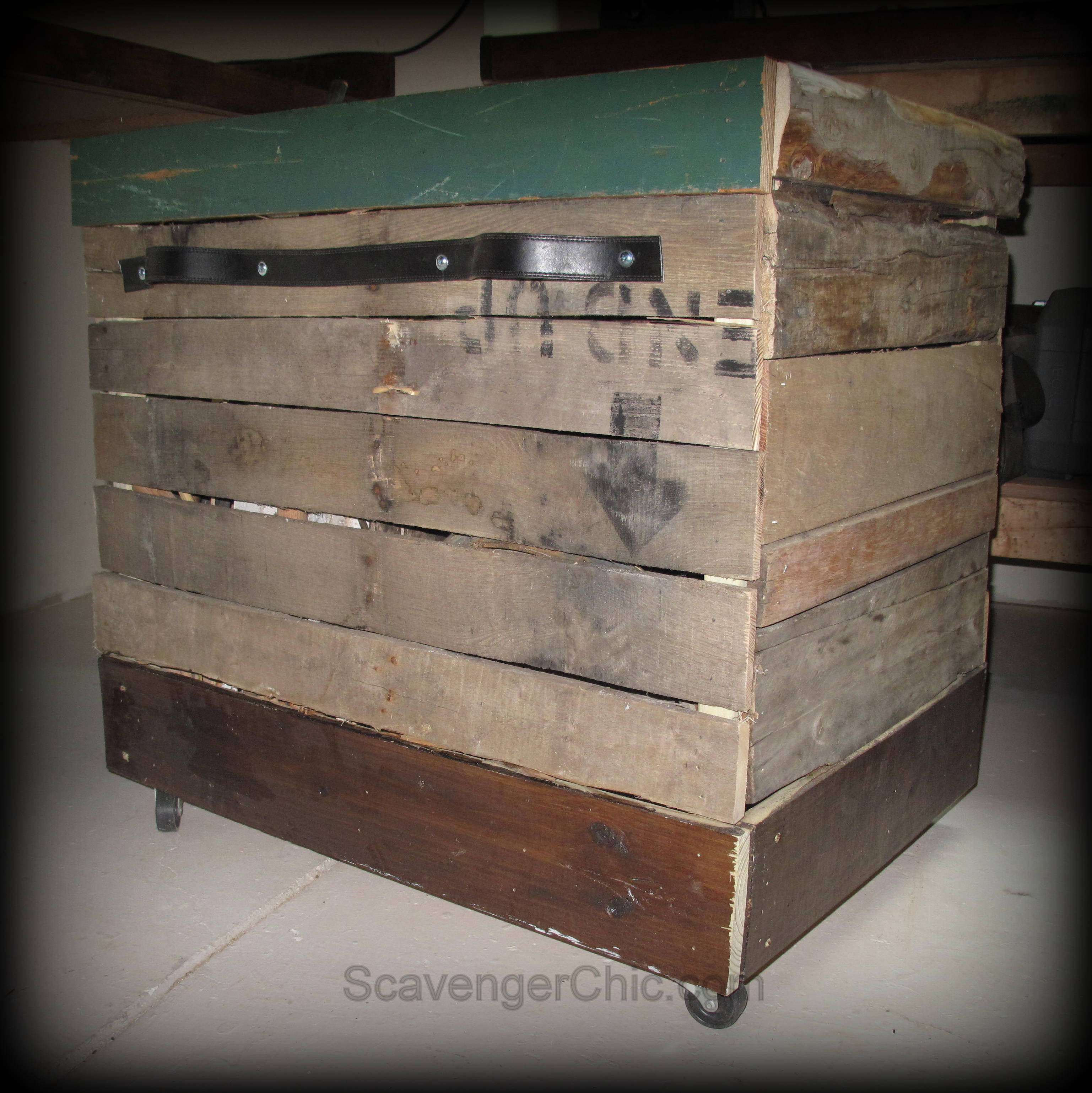 Pallet Wood Rolling Storage Cart Scavenger Chic
