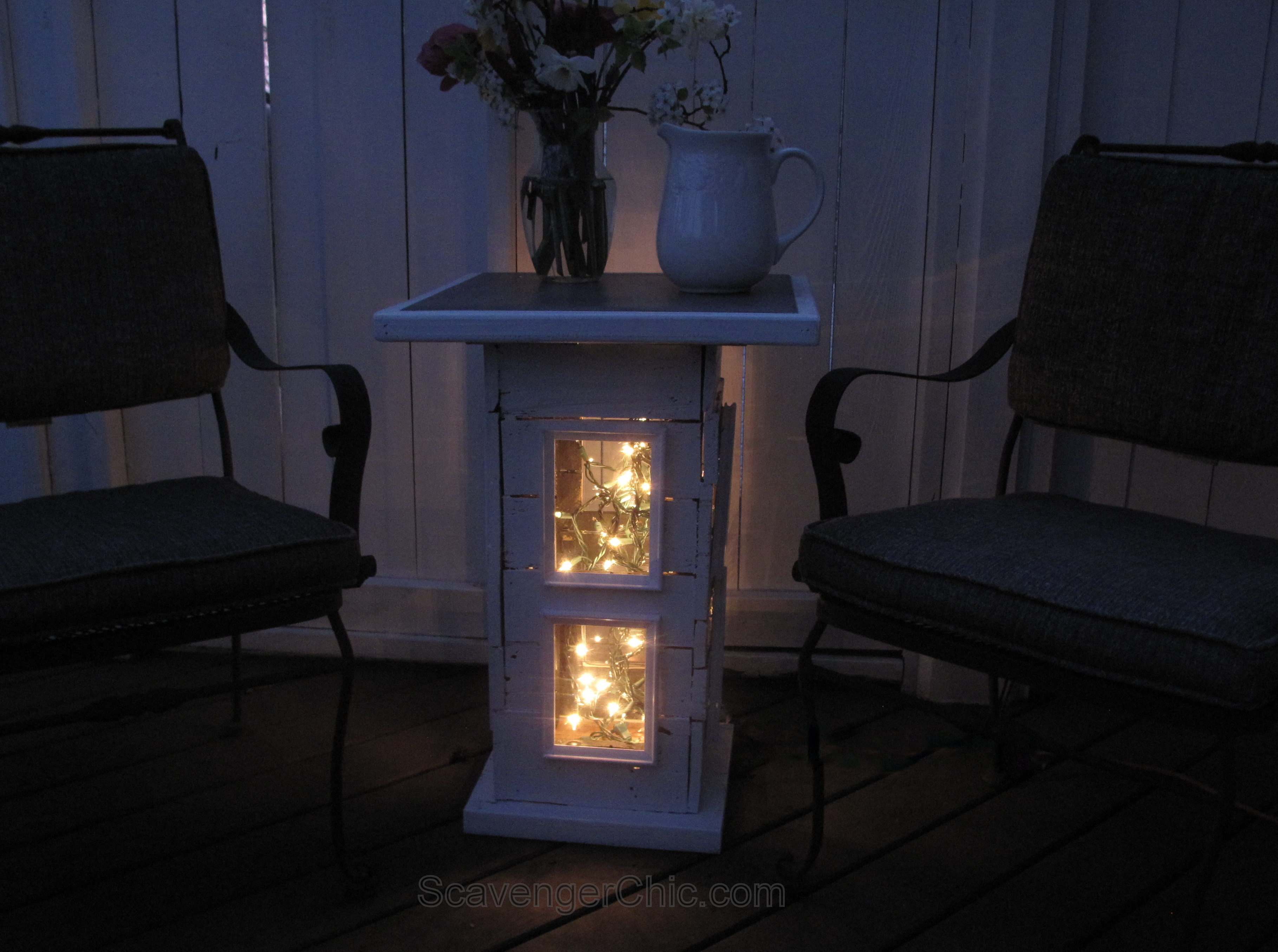 Illuminated Pallet Wood Side Table Scavenger Chic