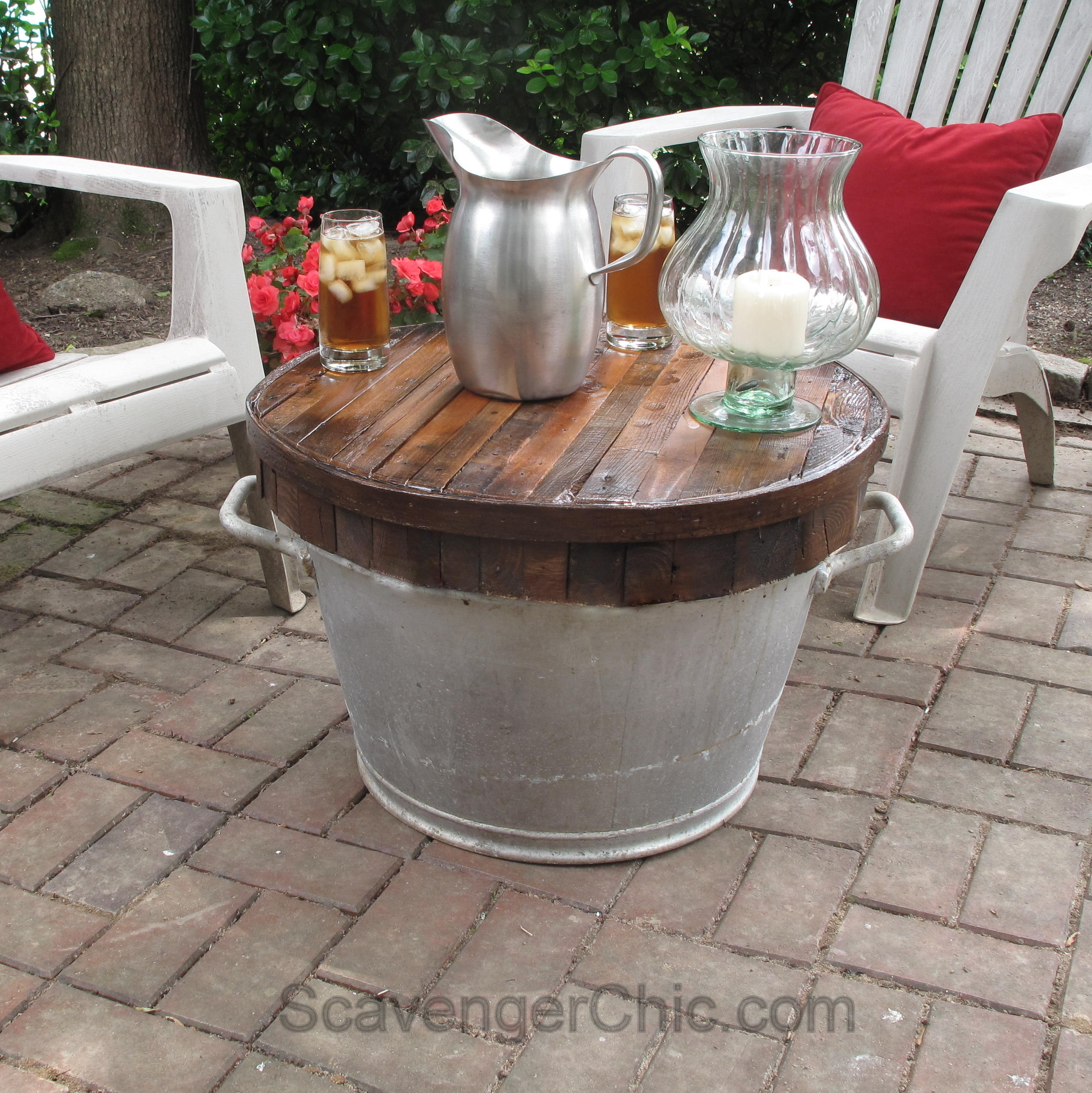 Butcher Block Wash Tub Table Scavenger Chic
