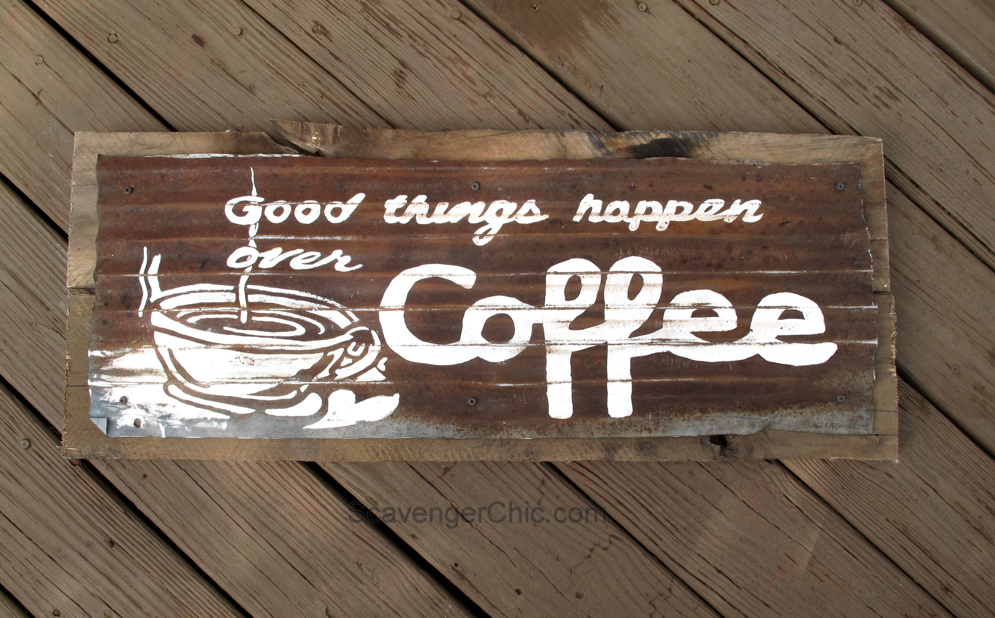good things happen over coffee scavenger chic