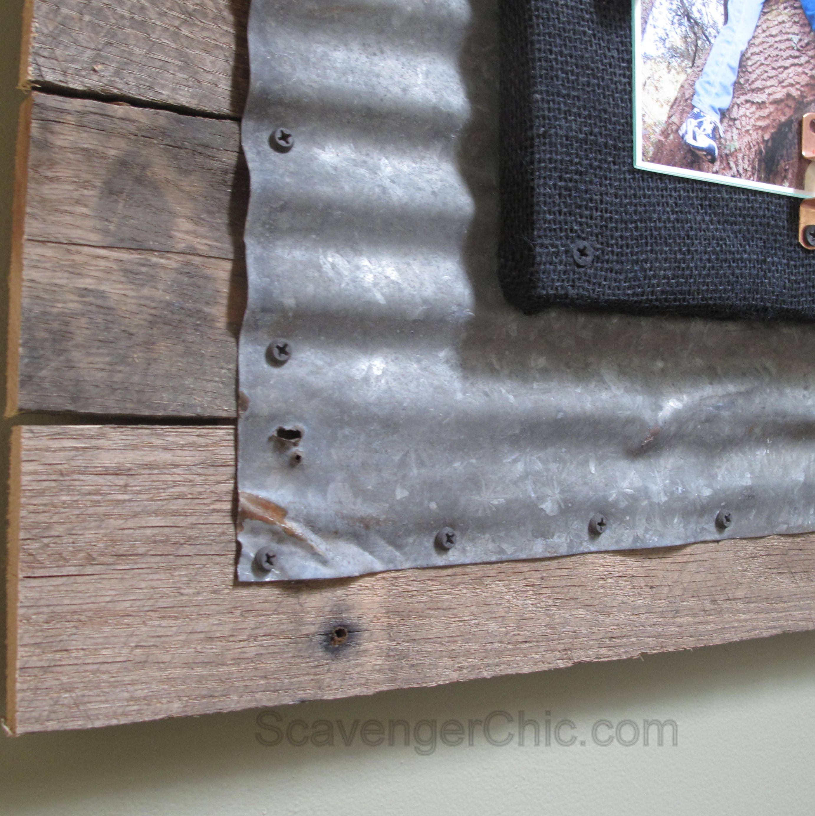 Corrugated Tin and Pallet Wood Frame - Scavenger Chic