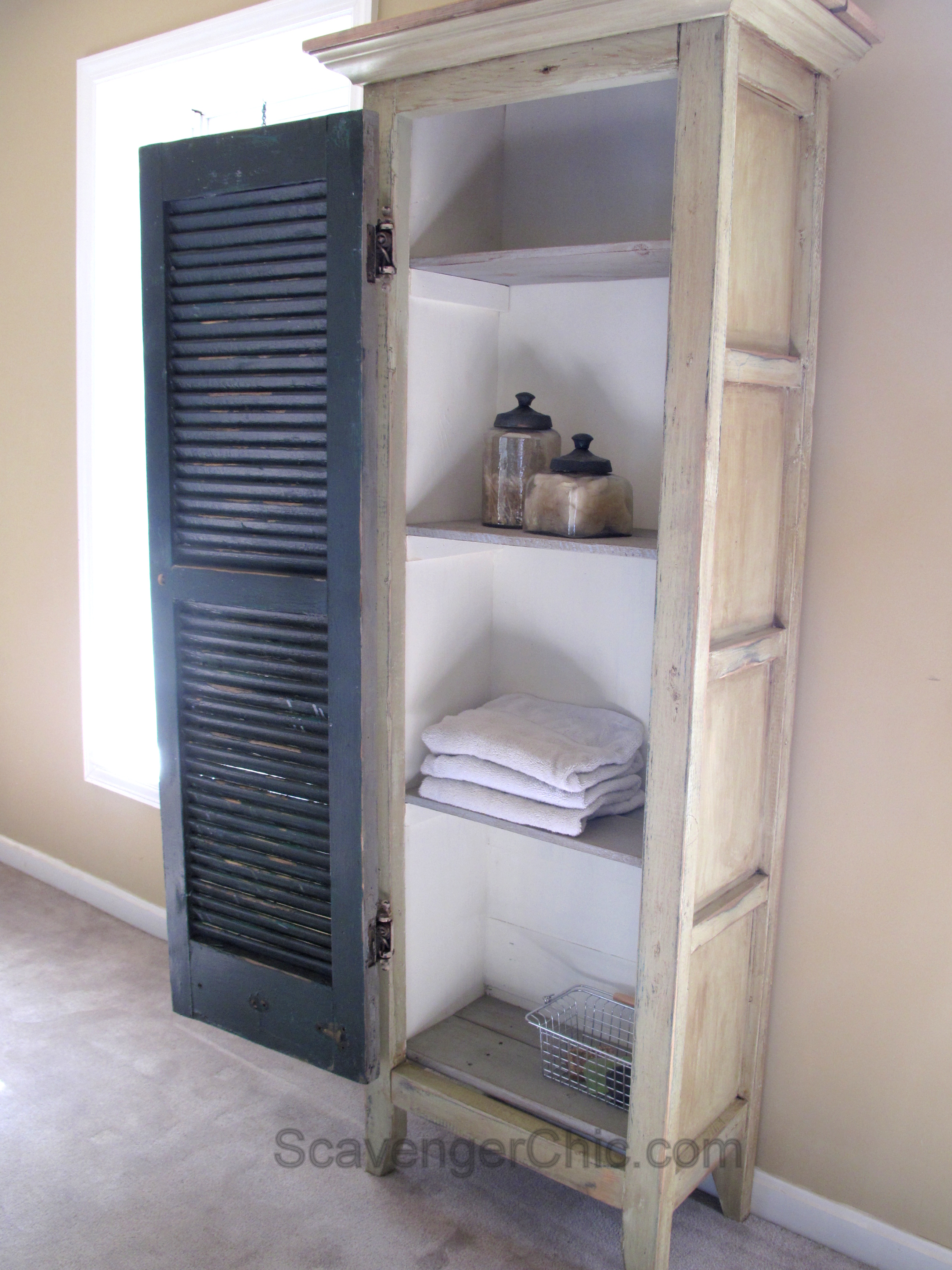 When Life Gives You Shutters Make A Cabinet Scavenger