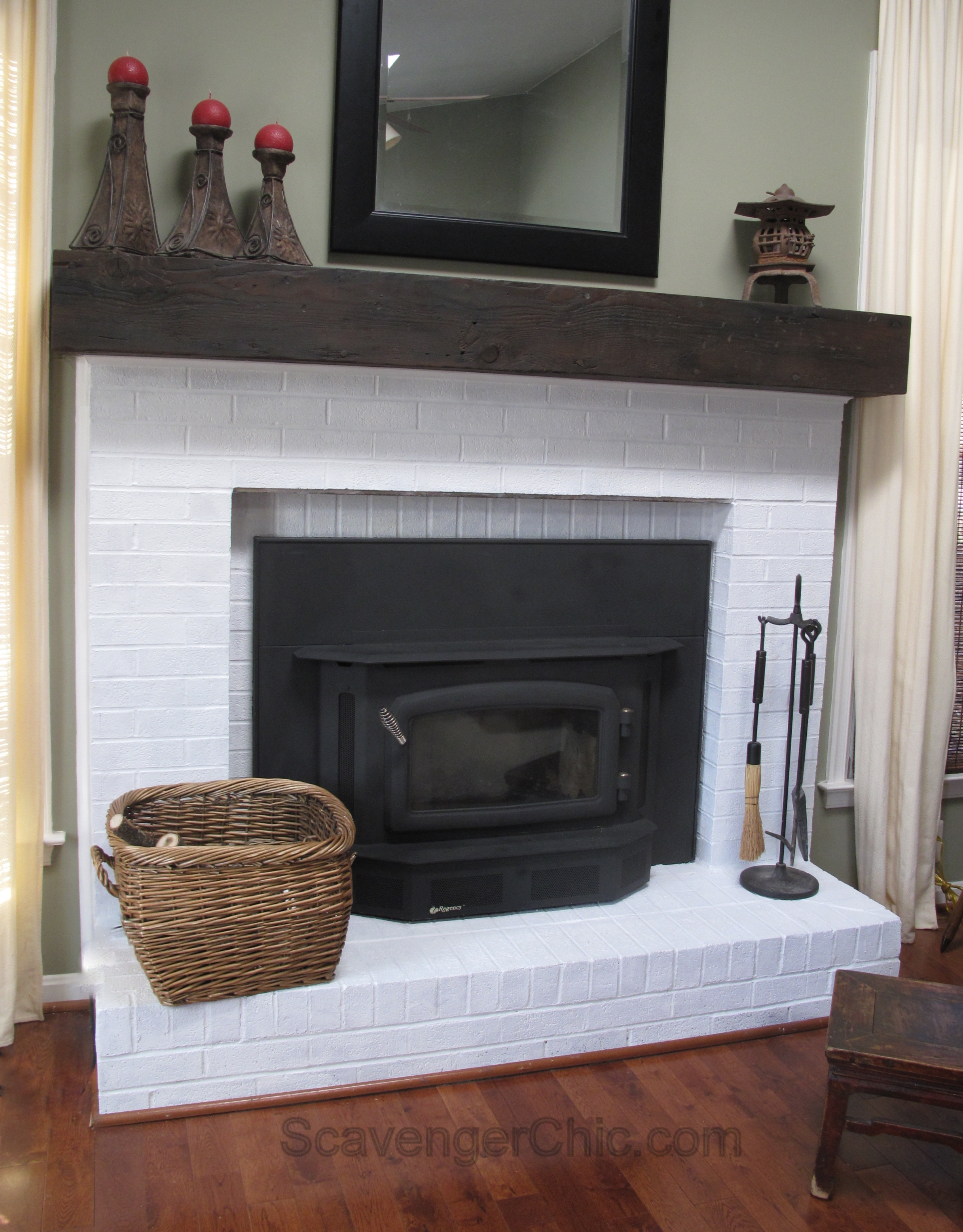 easy faux railroad tie mantel scavenger chic. Black Bedroom Furniture Sets. Home Design Ideas