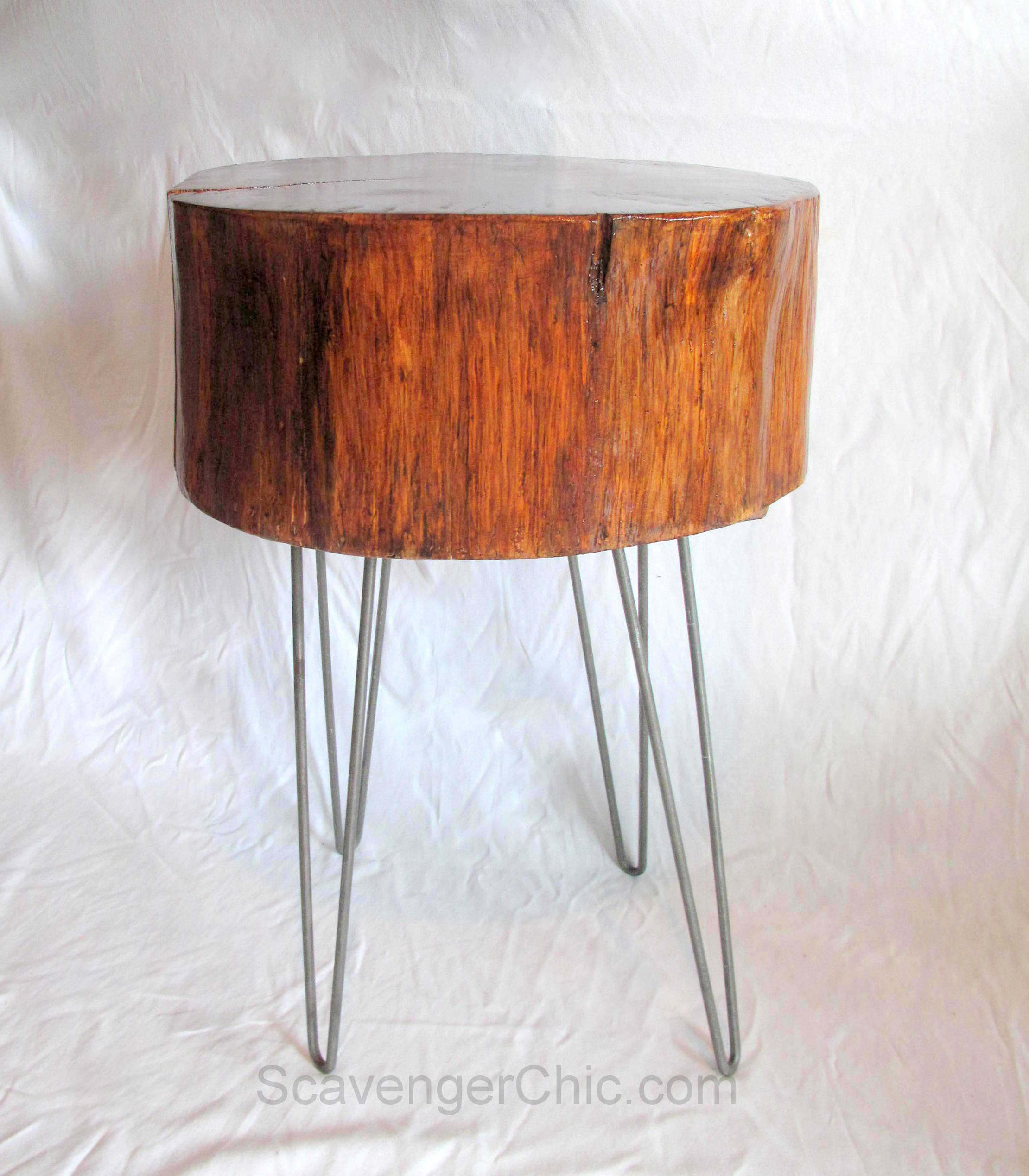 DIY Wood Slice End Table Scavenger Chic