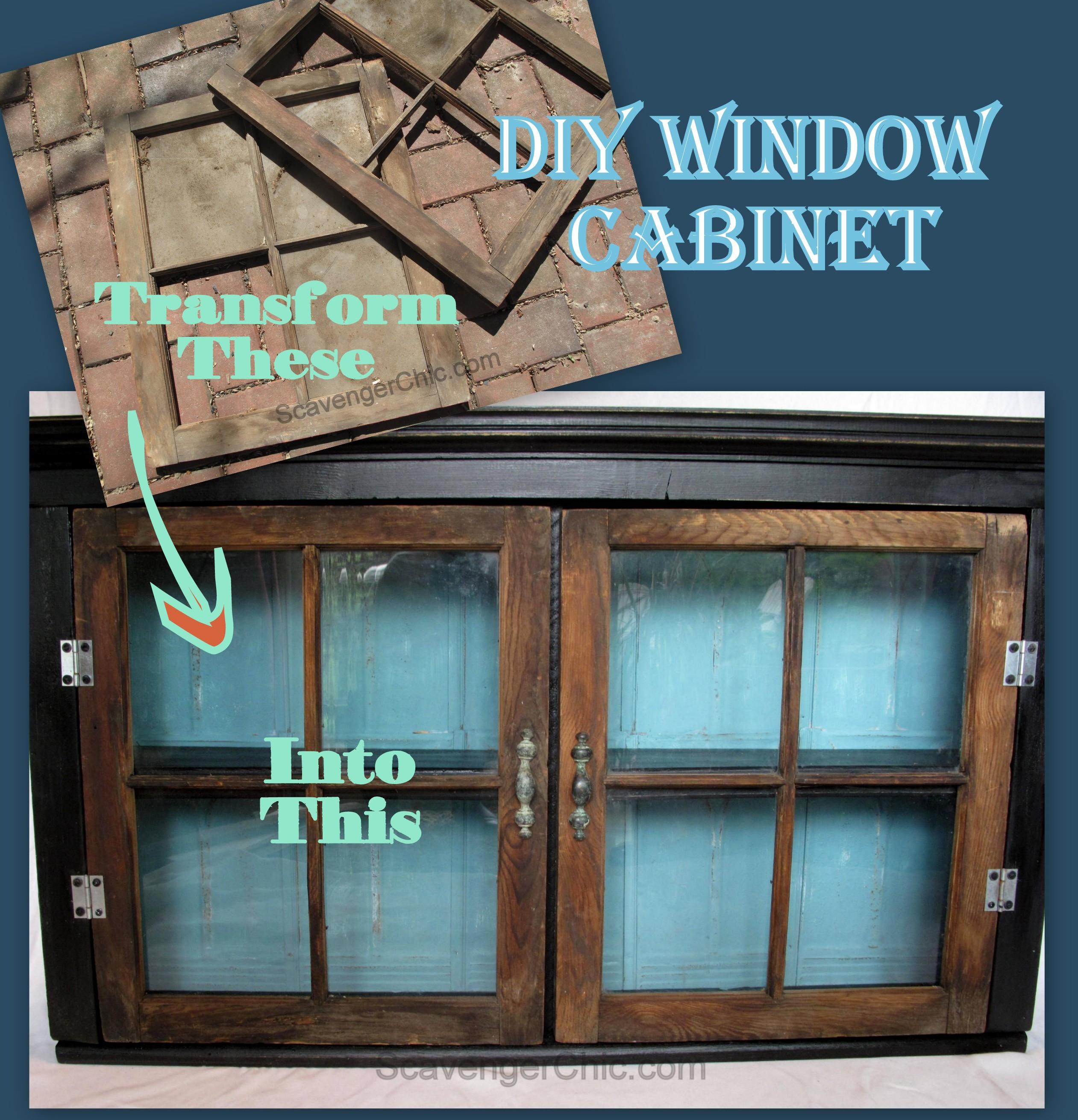 Vintage Window Wall Cabinet