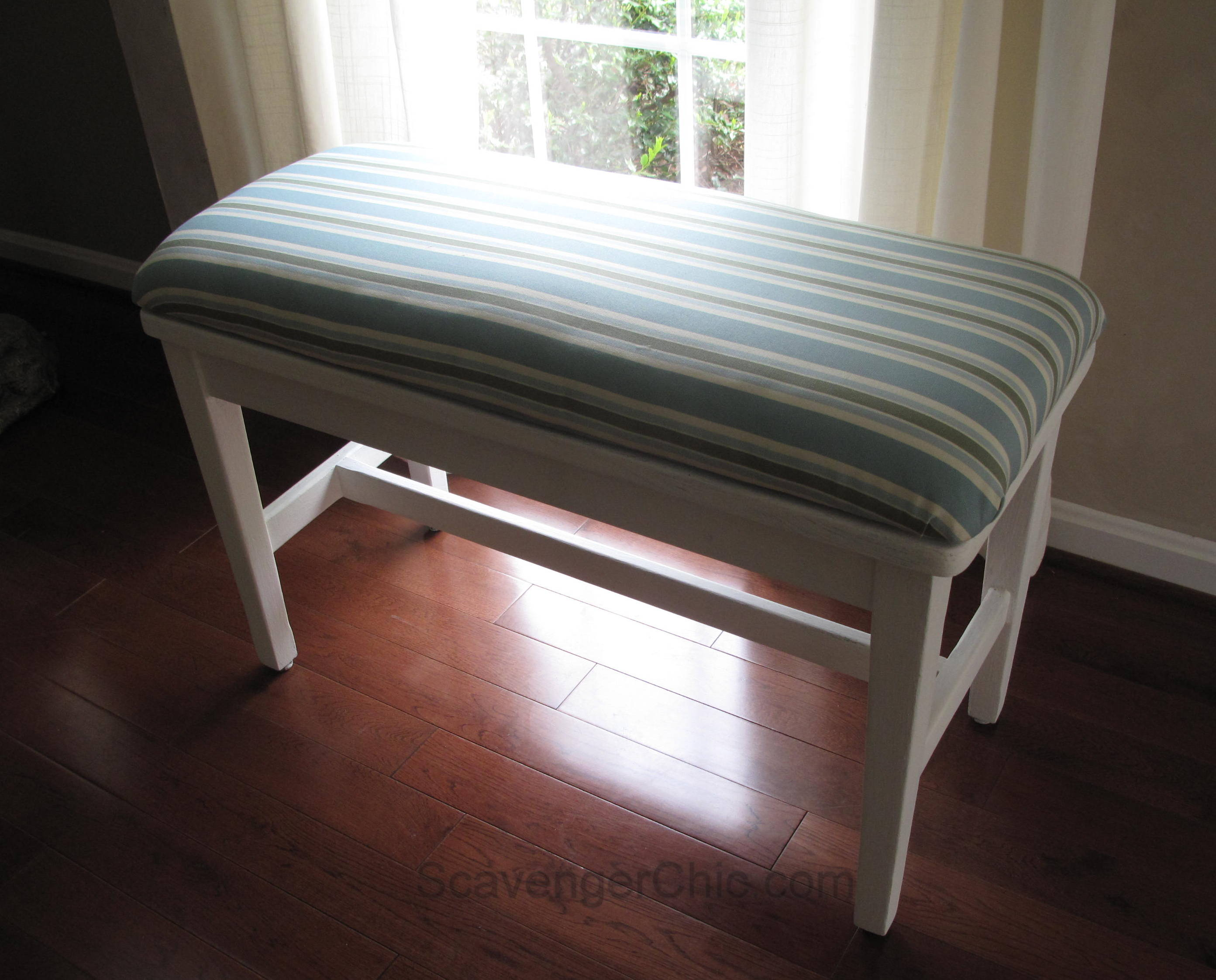 easy no sew padded seat cover scavenger chic. Black Bedroom Furniture Sets. Home Design Ideas