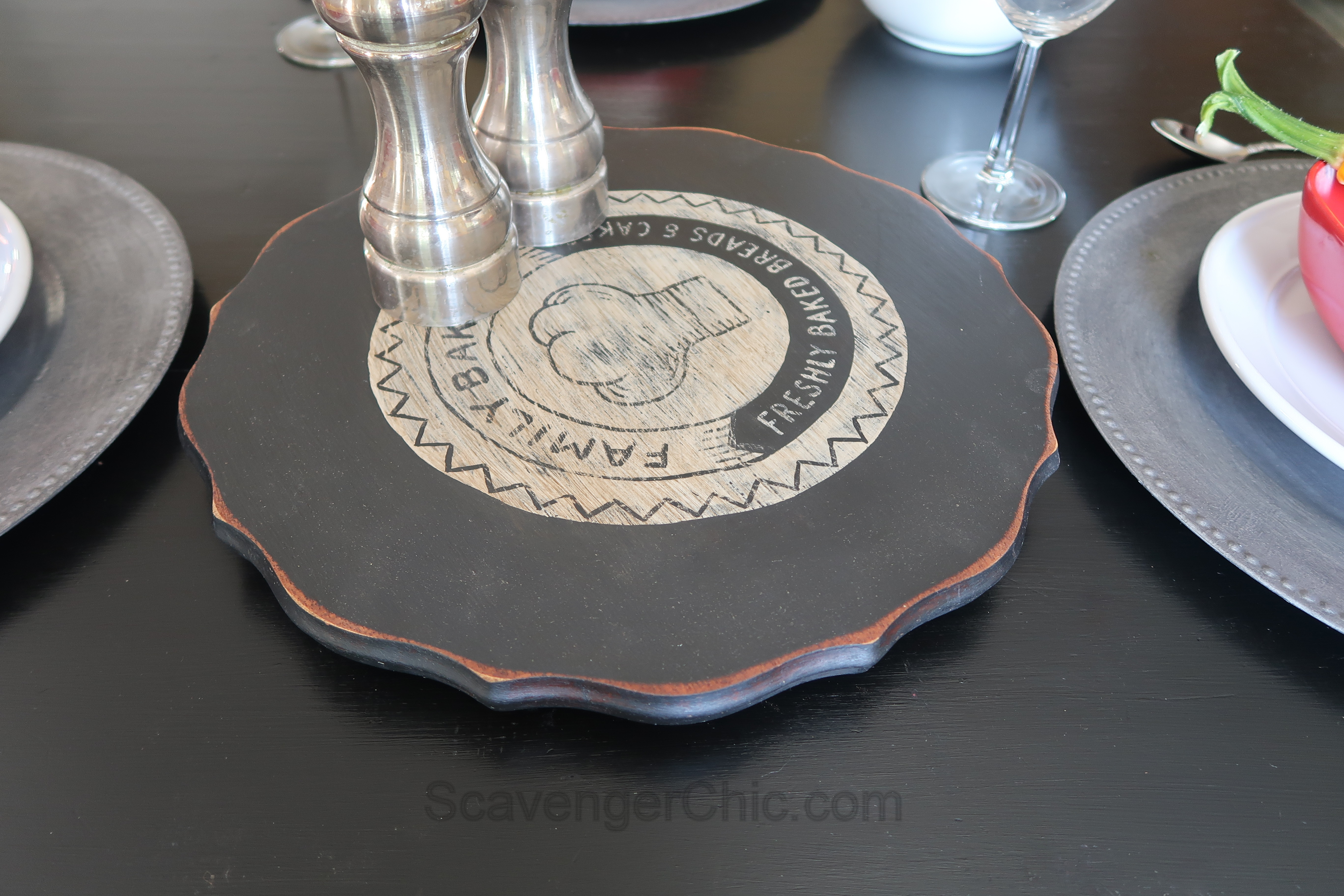 Recycled Table Top Lazy Susan Turntable Scavenger Chic