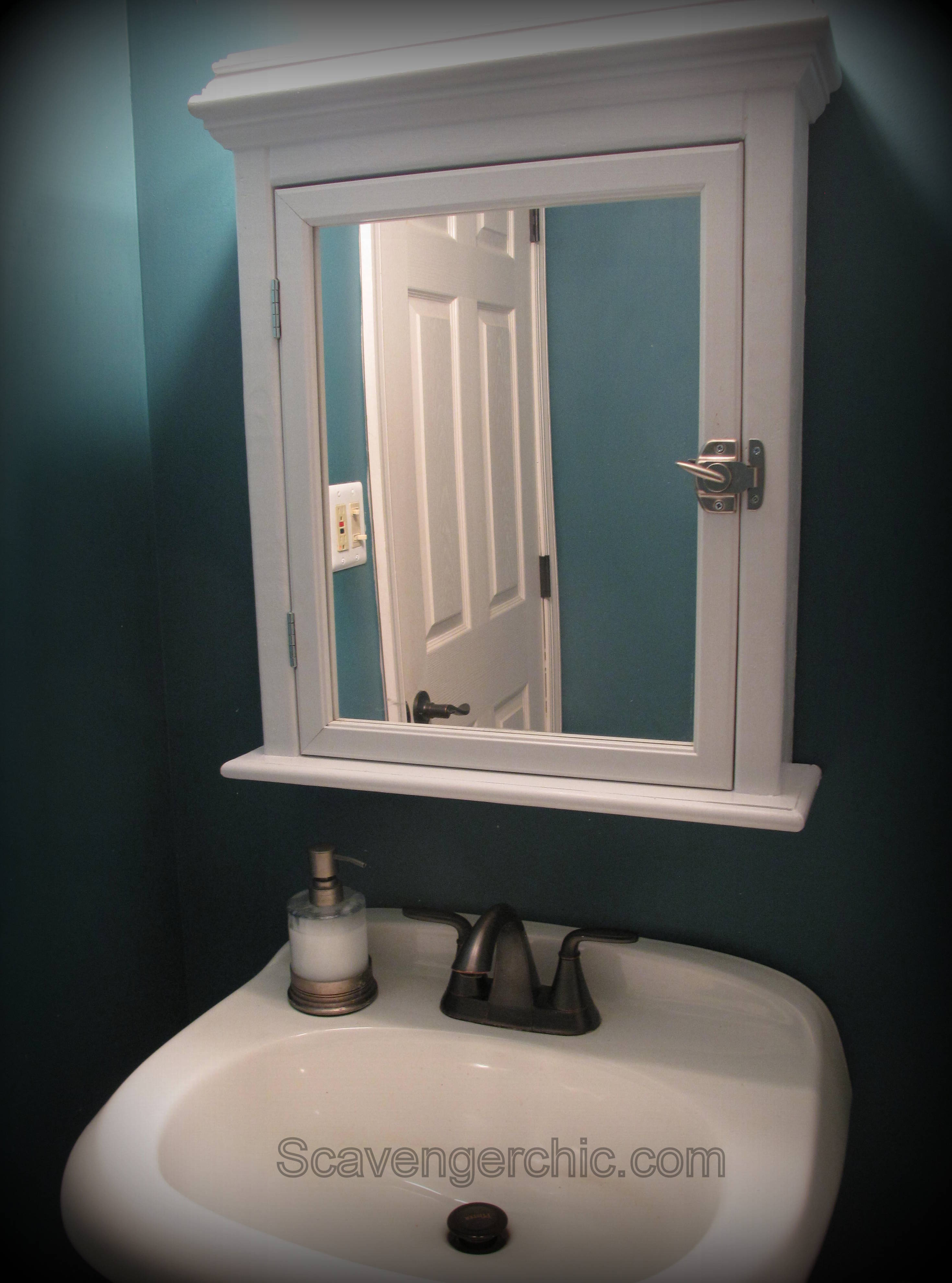 Create A Medicine Cabinet From A Mirror Diy Scavenger Chic