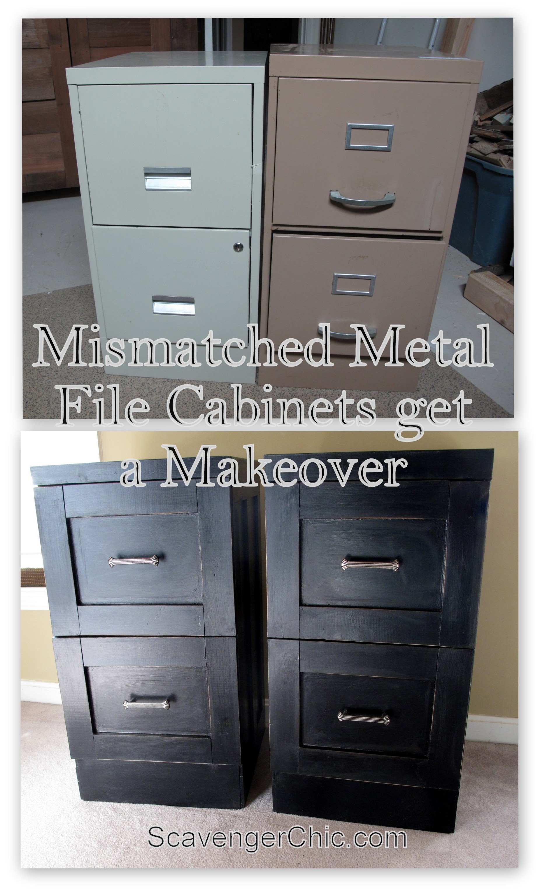 mismatched metal file cabinets get a makeover – scavenger chic 30 inch tall file cabinet