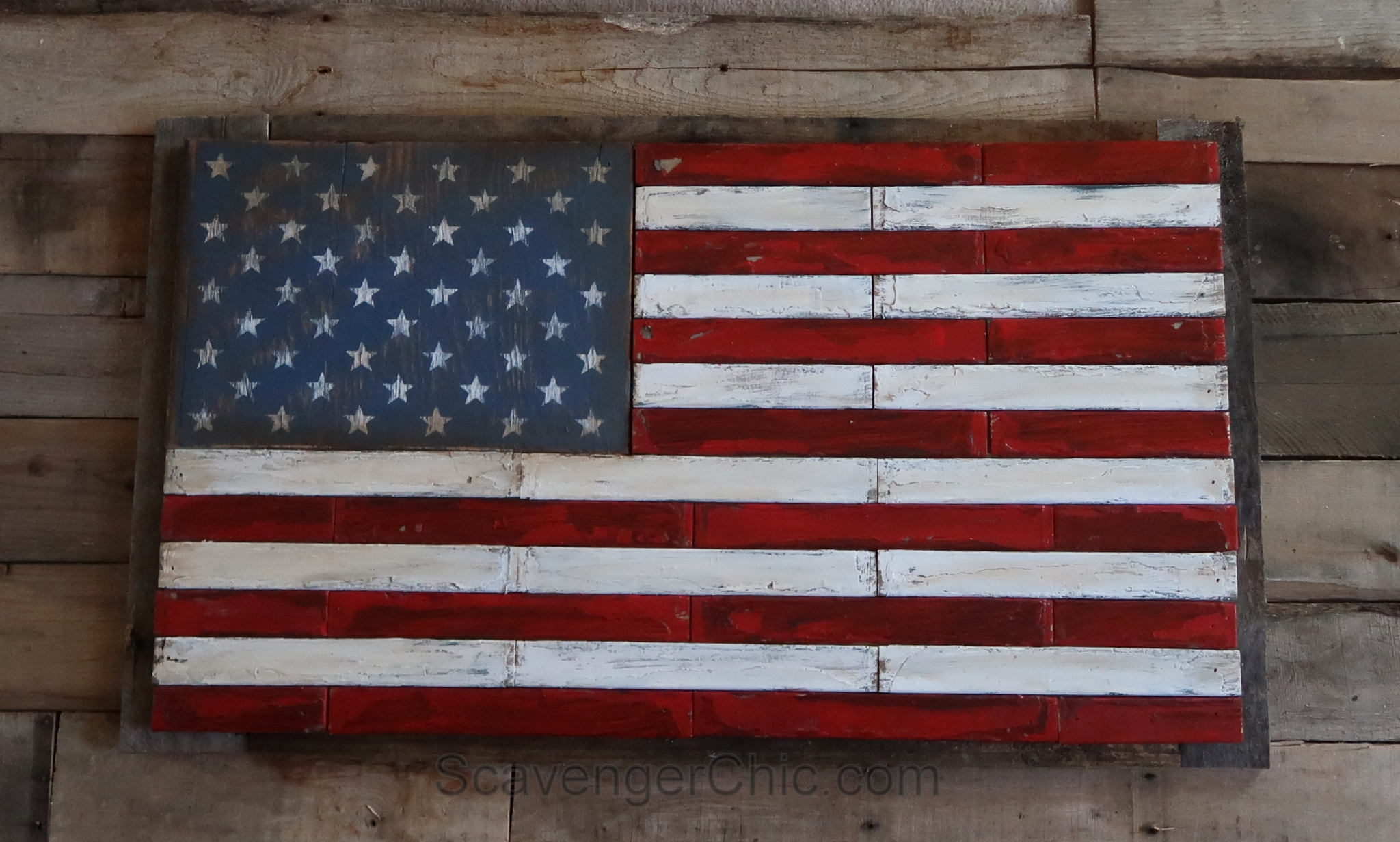 d810e79f6626 Pallet Wood and Shutter Slat American Flag – Scavenger Chic